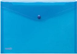 Sichttasche A4 quer, blau trans- parent, mit Druckknopf,