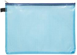 Kleinkrambeutel A4 transparent blau mit farbigem Reißverschluss