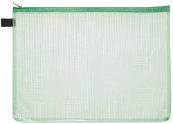 Kleinkrambeutel A6 transparent grün mit farbigem Reißverschluss