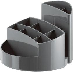 Schreibtisch-Köcher Rondo dunkelgrau 9 Fächer, 140x140x109mm, Kunststoff