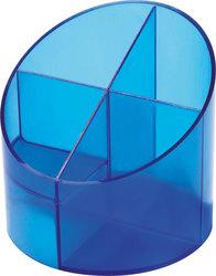 Schreibgeräte Multiköcher blau transluzent, 4 Fächer, Ø110mm