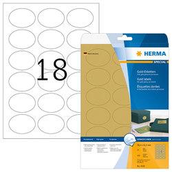 Etikett 58,4x42,3mm oval Folie gold A4 450 Et 25Bl 18Et Bl LaserCopy