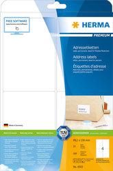 Herma Premiumetiketten, 99,1x139mm, 400 Etiketten, weiß, für Laser-, Farblaser-, Inkjetdrucker, Kopierer, Packung à 100 Blatt, Blattformat: DIN A4
