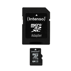 Micro-SDHC Speicherkarte 64GB 10MB/s Class 10, mit SD-Adapter