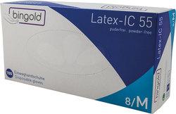 Latexhandschuhe Bingold, 100er Box, Größe M, weiß, puderfrei, polymerbe-VE = 1 Box = 100 Stück