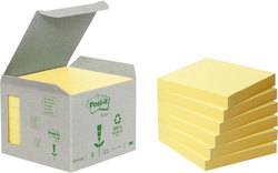 Post-it Notes Recycling Mini Tower gelb 76x76mm, 100 Blatt/BlockVE = 1 Packung = 6 Blöcke