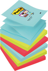 Post-it Super Sticky Z-Notes, 76x76 mm, Miami CollectionVE = 1 Pack = 6 Blöcke a 90 Blatt