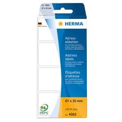 Herma Adressetiketten endlos, 67x35mm, 250 Etiketten, weiß, für Schreibmaschine und Handbeschriftung, leporello-gefalzt, Querperforation nach jedem Etikett