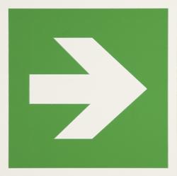 Warnschild Fluchtweg zur Richtungs- angabe, Kunststoff, nachtleuchtend,