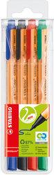 GREENpoint Faserschreiber, 4er Etui, 0,8mm, robuste breite Spitze,VE = 1 Etui = 4 Stifte