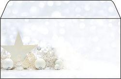Weihnachts-Umschlag White Stars DL, 90g, gummiert,VE = 1 Packung = 25 Stück