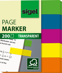 Haftmarker transparent 12x50mm 5 Farben grün/blau/rot/gelb/orangeVE = 1 Stück = 200 Marker
