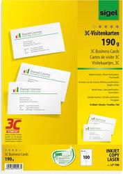 Visitenkarte Multiprint 190g weiss f. InkJet, Laser, KopiererVE = 1 Packung = 10 Blatt