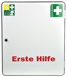 Verbandschrank Paris mit Füllung Standard DIN 13169, Stahlblech weiß