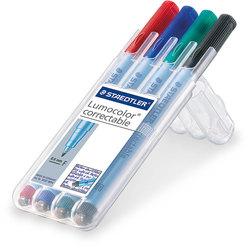 Lumocolor correct Folienstift F 4er Etui, schwarz, blau, rot, grün