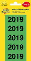 Jahreszahlen 2019, 60x24 mm, grün, 100 Etiketten, permanent