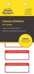 Inventar-Etikett mit Laminat, rot, 50x20 mm,VE = 1 Pack = 50 Etiketten