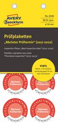Prüfplakette nächster Prüftermin, Ø 30mm, rot, Vinyl, (2017-2022)VE = 1 Pack = 80 Etiketten
