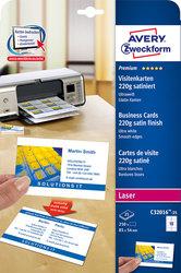 Visitenkarten weiß, 220g, 85x54 mm, satiniert, 25Bl=250 KartenVE = 1 Packung = 250 Karten