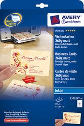 Visitenkarten 260g, Quick u. Clean, 85x54mm, spezialbeschichtet weiß mattVE= 10 Blatt/80 Karten