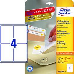 Wiederablösbare Etiketten, 99,1x139mm weiß 25 Blatt +5 Blatt Gratis