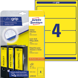 Rückenschild I+L+K kurz/breit, gelb, A4, 61x192 mm, 20Bl=80St