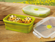Lunchbox ETHAN, grün, mit Deckel, fasst 760ml, faltbar, aus Silikon