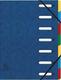 Eckspann-Ordnungsmappe 7 Fächer blau 425g/qm Manila Karton, Innenfach