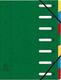 Eckspann-Ordnungsmappe 7 Fächer grün 425g/qm Manila Karton, Innenfach