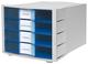 Schubladenbox Impuls 4 Schübe geschlossen, lgrau/transluzent blau