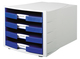 Schubladenbox Impuls 4 Schübe offen lichtgrau/blau