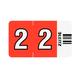 Ziffern-Signal-Streifen, 2, rot, selbstklebend, auf Trägerbandstreifen