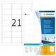 Kennzeichnungsetiketten 63,5x38,1mm ws 100 Blatt=2100 Etiketten VE = 1 Packung = 100 Blatt