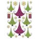 Schmucketikett Decor Weihnachten Tannenbäume Goldprägung 2Bl 1Pack