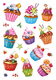 Schmucketikett DECOR Cupcakes Folie beglimmert 2Bl 1Pack