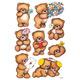 Schmucketikett Decor Bären mit Blumen 3Bl 1 Pack
