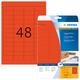 Farbige Etiketten A4 45,7x21,2mm rot, matt, für alle PC-Drucker, VE = 1 Packung = 20 Blatt = 960 St.