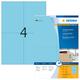 Farbige Etiketten 105x148mm blau, matt, für alle PC-Drucker, MFC etc. VE = 1 Packung = 100 Blatt = 400 St.