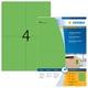 Farbige Etiketten A4 105x148mm grün, matt, für alle PC-Drucker, MFC etc. VE = 1 Packung = 100 Blatt = 400 St.