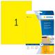 Farbige Etiketten A4 210x297mm gelb, matt, für alle PC-Drucker, MFC etc. VE = 1 Packung = 20 Blatt = 20 St.