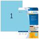 Farbige Etiketten A4 210x297mm blau, matt, für alle PC-Drucker, MFC etc. VE = 1 Packung = 20 Blatt = 20 St.