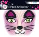 Face Art Sticker Pink Cat 1Bl 1Pack