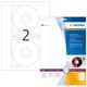 Etikett CD I+L+K 116mm ws 20St 10 Bl. f. Inkjetdruck in Fotoqualität VE=1 Packung = 10 Blatt = 20 Etiketten